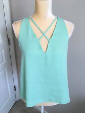 Necessary Objects Women's CrossStrap Neckline Blouse Green Size S NWT