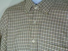 Robert Talbott Shirt Sz Large Casual Button Down Brown Plaid Long Sleeve