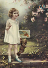 REPRINT PICTURE older print BLUEBIRD GIRL STANDING WITH TEDDY BEAR 2 birds 5x7