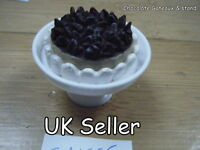 DOLLS HOUSE MINIATURE FOOD CHOCOLATE & CREAM GATEAUX CAKE & STAND 1/12th SCALE