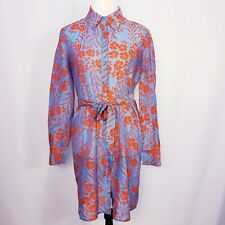 Diane Von Furstenberg Women's Sz S Button Down Floral 100% Silk Dress Blue Red.