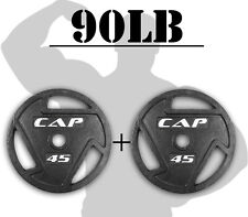 "45lb Olympic Weight Plates Set 2"" Pair Barbell Curl Bar Home Gym Pumping Iron"