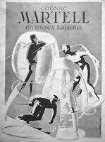 PUBLICITÉ DE PRESSE 1954 COGNAC MARTELL EN TOUTES SAISONS - YVES BÉTIN