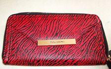 NWT Tahari Safari Organizer Wristlet Wallet Identity Protect Lining Red/Black