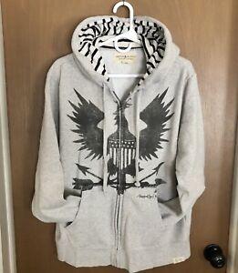 Ralph Lauren Denim Supply Men XL War Eagle Graphics Fleece Hoodie Sweatshirt