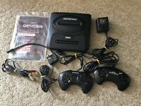 Vintage Sega Genesis Console Lot with Controllers, Manual, And Wires