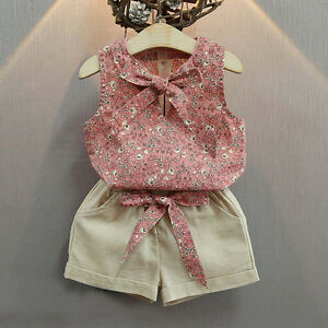Toddler Kids Baby Girl Sleeveless Bowknot Vest+Shorts Pants Outfit Clothes 2PCS