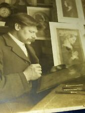 1905 Scarce RPPC - Artist In Studio With Paintings - occupational photo postcard