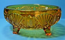 VINTAGE AMBER PRESSED GLASS FOOTED FRUIT BOWL ART DECO FAN AND SUN BURST DETAIL