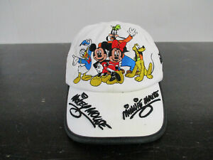 Disney Hat Cap White Black Strap Back Toddler Mickey Mouse Adjustable Kids Boys