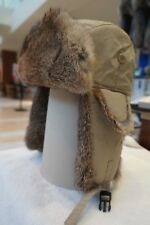Hunting Aviator Alaskan Trail Rabbit Fur Hat Bomber Khaki Shell Large (L)