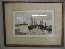 1885 Etching, Print or Wood Cut Boats at a Dock signed by CHARLES A. PLATT