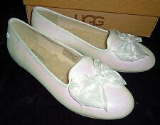 UGG New Girls Ashley White Glitter Ballet Flats Loafer Shoes 6 1004837K
