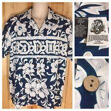 Men's Kennington Hawaiian Floral Print Button Up Short Sleeve Shirt Dark Blue L