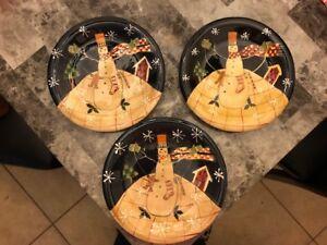 Susan Winget Snowman & Snowflakes Salad / Dessert Plates Certified International