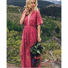 Santana Embroidered Lace Maxi Dress