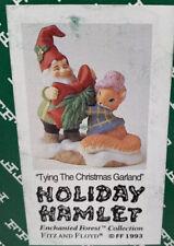 Fitz & Floyd Holiday Hamlet Tying the Christmas Garland 19/742 Nib 1993
