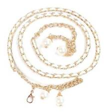 Women's Lady beauty Metal Chain Imitation Pearl Style Belt Body Chain Waistband