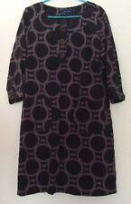 Boden grey & black geo needlecord corduroy lined 3/4 sleeve pockets dress 10