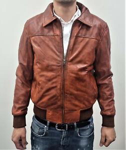 Men's Vintage Tan Retro Casual Slim-Fit Retro Leather Biker Bomber Jacket