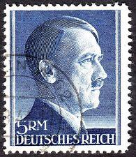 Germany: Adolf Hitler 5 rm deep blue (1942), perf 12.5