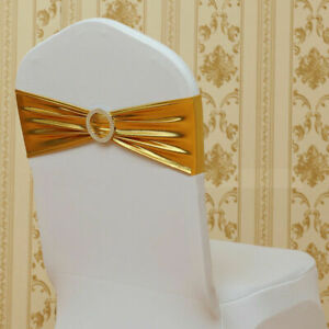 Banquet Shiny Foil Stretch Chair Sash Spandex Cover Band Bow Wedding Party Decor