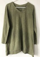 NEW J. JILL S M Color-washed Dipped-hem Tunic L/S Pima Cotton Olive Green