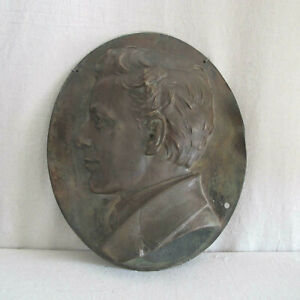 Henry Baerer Bronze Portrait Relief of a Young Man 1878 Signed Antique Sculpture