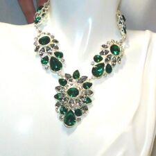 "Vintage Gorgeous Emerald Green White Rhinestone 16"" Necklace 10b 1"