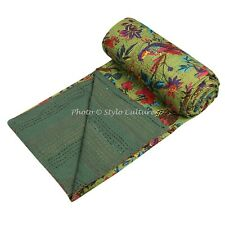 Indian Bed Cover Twin Cotton Printed Quilt Blanket Bird Kantha Quilts
