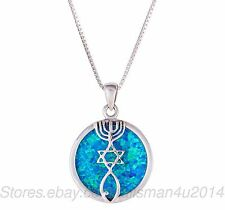 Sterling Silver MESSIANIC Pendant Necklace Blue OPAL Grafted Jerusalem Seal New