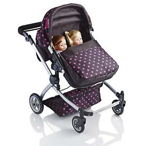 Dolls Double Buggy Babies Toy Pram Girl & Boy Pushchair Sturdy Light Weight