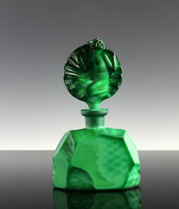 Art Deco Malachite Glass Nude Perfume Bottle 1930' H.Hoffmann