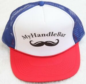 Otto My Handle Bar Mustache White Blue Red Hat Cap Snap Back Baseball Style Mens