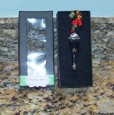 Holiday Spirit Murano-Like Glass Candy Cane Wine Stopper Bottle Topper Christmas