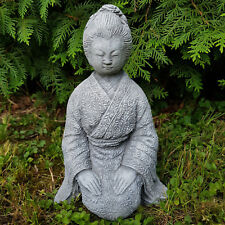 Steinfigur Geisha mit tollem Kimono frostfest Feng Shui Buddha Deko Garten Figur