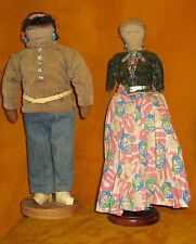 ANTIQUE PAIR NAVAJO INDIAN DOLLS FABRIC FACE DRAWN/SEWN DETAILS SILVER BEADS