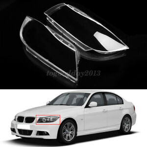 Pair Xenon Front Headlight Headlamp Plastic Clear Lens Cover For BMW 3 E90 / E91