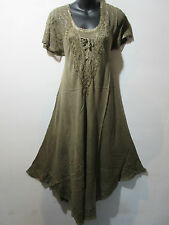 Dress Fits XL 1X 2X 3X Plus Tunic Brown Lace Sleeves Sundress A Shaped NWT G603