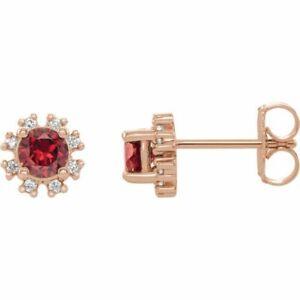 Ruby & 1/4 CTW Diamond Earrings In 14K Rose Gold