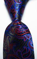 New Classic Paisley Black Blue Red JACQUARD WOVEN 100% Silk Men's Tie Necktie