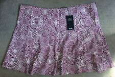 M&S MULBERRY PATTERNED A-LINE LINEN SKIRT WITH WIDE WAISTBAND - SIZE 24 - BNWT