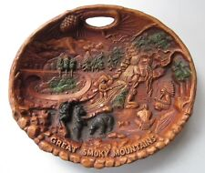 VINTAGE GREAT SMOKY MOUNTAINS FAUX WOOD SOUVENIR WALL PLAQUE PLATE, FAIRWAY, VG!