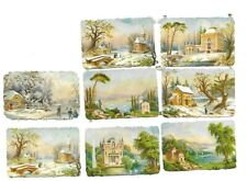 Victorian Antique Die Cut Scraps 8 nature scenes 1880s-1890s