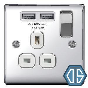 BG Nexus NPC21U2W Polished Mirror Chrome USB Single Socket 1 Gang White