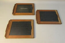 Lot of 3 Universal 5x7 Dry Plate Glass Film Holder Wood Wooden