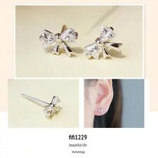 925 sterling silver bowknot with clear crystal studs earrings kids/women
