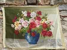 Small point finished gobelin needlepoint, flowers cross stitch