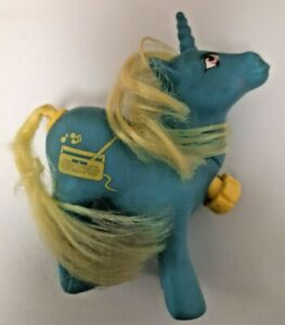 Vintage MLP Hasbro ©84 My Little Pony - Blue Unicorn Pony Spinning Tail Twirls