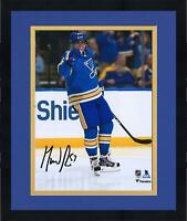 "Frmd David Perron StLouis Blues Signed 8"" x 10"" Blue Alternate Jersey Goal Photo"